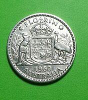 1960 Australian Silver Florin ( Two Bob Coin ) QEII, in Coin holder