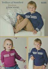 KNITTING PATTERN Boys/Babies Button-Neck Jumper Sweater Cotton DK Twilleys 9195