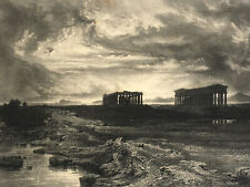 Paestum Salerne KARL LINDEMANN FROMMELS Lithographie GOUPIL Jacomme Pestum 1848