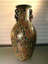 Mid Century Murano Spatter Glass Aventurine Vase