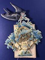 Birthday Bird & Fan Plastic (Mica Celluloid) Antique Postcard. RARE & Unique.