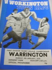 08/01/1978 Rugby League Programme: Workington Town v Warrington (team changes)