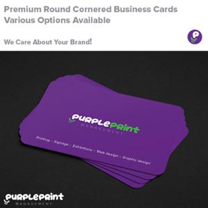 Round Cornered Premium Business Cards - 350gsm or 450gsm Full Colour Laminated