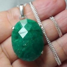 BEST! 47.62 ct NATURAL EGL CERTIFICATE UNHEATED EMERALD PENDANT 925 S-G SILVER