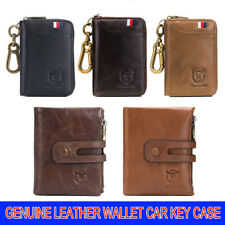RFID Blocking Mens Real Leather Wallet Zip Coin Pocket Pouch Car Key Case UK