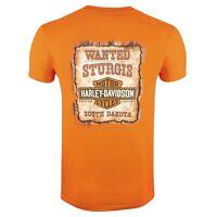 Harley Davidson HD Mens Sturgis South Dakota Wanted Poster Orange T-Shirt