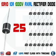 25PCS 10A10 1000V 10A 1KV Axial Rectifier Diode 10 AMP solar panel USA