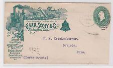 Richmond IN stationery farm machinery ad to Delisle Ohio 1894 b1