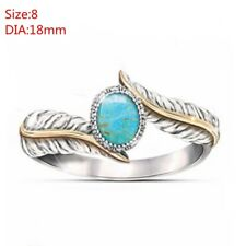 Hot Sale Bohemia Turquoise Feather Ring Jewelry Gift Cocktail Party Wedding Ring