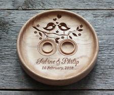 Wood Wedding ring bearer box alternative, Wedding ring pillow holder dish plate.