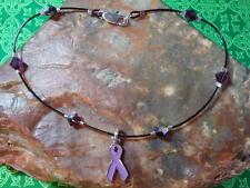 FIBROMYALGIA Lupus Purple Ribbon Awareness ANKLET made with Swarovski Elements