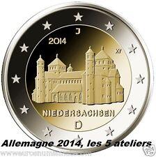 5 x 2 euros commémoratives  ALLEMAGNE 2014 - Niedersachen - ADFGJ inclus