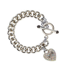 NEW JUICY COUTURE Icon Pave Heart Charm Silver-Tone Starter Toggle Bracelet