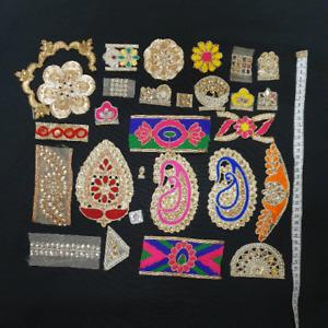 Grab Bag 28 assorted Indian appliques  scrap Trims Job lot Fabric Trims  Ribbons
