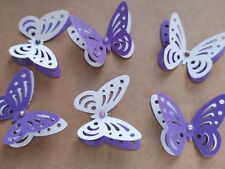 24x 3D paper butterflies Wedding Party table decorations white and purple