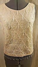 Womens Vintage Imperial Imports Sleeveless Ivory Sequin/Beaded Top 100% Wool Med