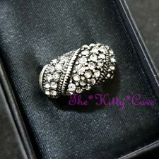 Retro Ossie Wavy Classic Domed Band Antique Silver Crystal Bling Cocktail Ring