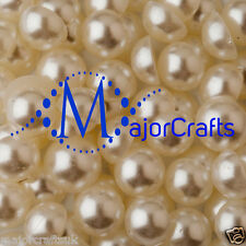 70pcs Cream Ivory 14mm Flat Back Half Round Resin Pearls Embellishment Gems C14