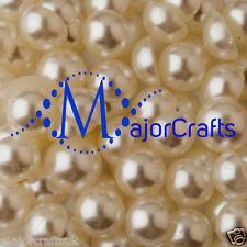 70pcs Cream Ivory 14mm Flat Back Half Round Resin Pearls Embellishment Gems C14