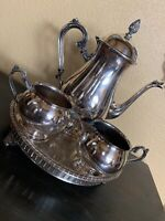 Charming Silver Tea Coffe Set  Reticulated Footed Tray Vintage 4 Piece Excellent
