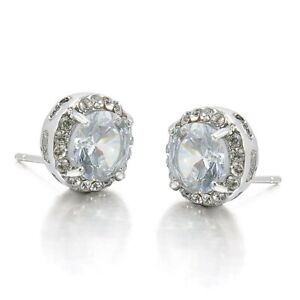 Womens Silver Plated Round Crystal Clear Zircon Stud Earrings