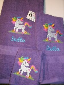 Rainbow Unicorn Heart Personalized 3 Piece Bath Towel Set  Any Color