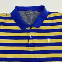 Mark & Spencer Polo Shirt Men's Size 2XL XXL Short Sleeve Yellow Blue Striped