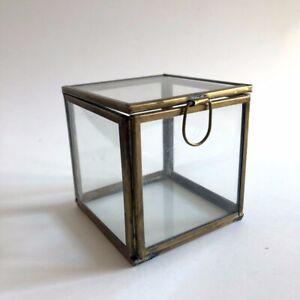 "Vintage glass trinket box/ cube with gold metal frame vanity storage 3x3x3"""