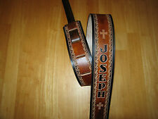 CUSTOM MADE LEATHER GUITAR STRAP (WITH YOUR NAME) 2 1/2 '' CROSSES BROWN/BL