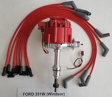 FORD 351W (Windsor) RED HEI Distributor & 8mm Spiral Core Spark Plug wires USA