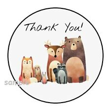 """30 CUTE THANK YOU WOODLAND ANIMALS ENVELOPE SEALS LABELS STICKERS 1.5"""" ROUND"""