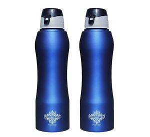 Stainless Steel Water Bottle New Sipper Cap Blue Matt 1000 ML, Set of 2