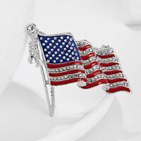 American USA FLAG Crystal Enamel Brooch Pin Costume Lapel Patriotic Emblem Gift