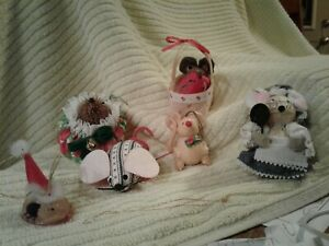 6 MOUSE THEMED CHRISTMAS ORNAMENTS DVS