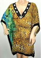 Just Love Women Size S M L Sheer Chiffon Cover Up Tunic Caftan Top Blouse Beaded