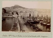 Italia, Napoli, veduta dal Porto  Vintage albumen print.  Tirage albuminé  1
