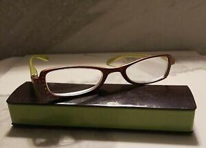 Calabria R837 Vintage Designer Reading Glasses  Brown Lime Color +6.00