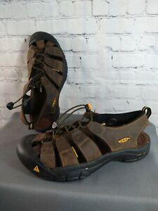 EUC men's KEEN NEWPORT H2 brown leather WATERPROOF sandals - SIZE 13