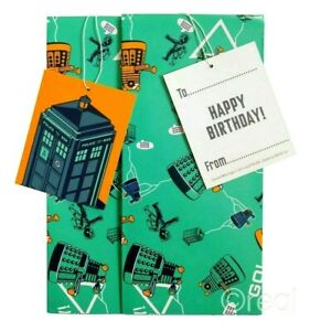 3 Packs Official Doctor Who Gift Wrap Set Birthday Tags Wrapping Paper TARDIS