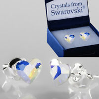 925 Sterling Silver Stud Earrings Flat Heart AB 6mm Crystals from Swarovski®