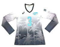 New Asics Sublimated Street LS Volleyball Training Jersey Women's M Blue VBS300