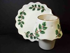 Christmas Holly footed candle plate & lampshade votive holder JKL China