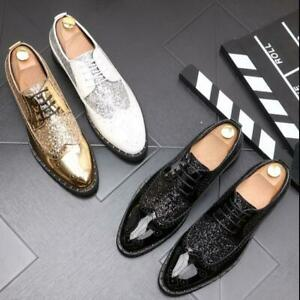 Mens Fashion Glitter Sequin Lace Up Brogue OXford Casual Formal Dress Shoes 0089