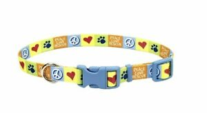 Coastal Pet Peace Paw & Love Rescue Rainbow Nylon Adjustable Dog Collar 1x18-26""