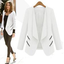 Women Ladies Career OL Lapel Slim Coat Jacket Suit Zip Blazer Formal Casual Tops