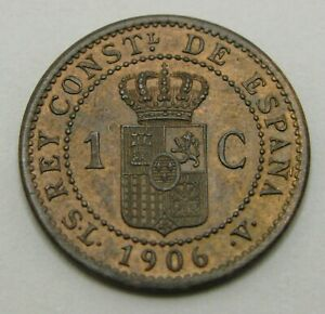 SPAIN 1 Centimo 1906 (6) SL-V - Bronze - Alfonso XIII. - XF/aUNC - 1144