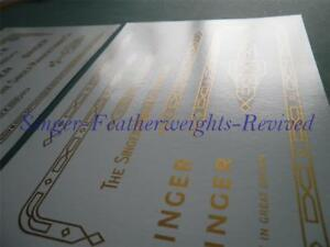 SINGER FEATHERWEIGHT GOLD METALLIC ***PRE TRIMMED*** DECAL SET FOR  221K - 222 K