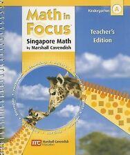 NEW - Math in Focus: The Singapore Approach, Grade K, Book A, Teacher's Edition