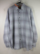 Facconable mens white blue charcoal shadow plaid metal button L EUC