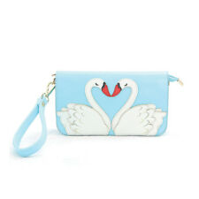 TEAL BLUE+WHITE+RED MIRRORED 2 SWANS FLAP SHOULDER BAG CROSSBODY,WRISTLET,CLUTCH